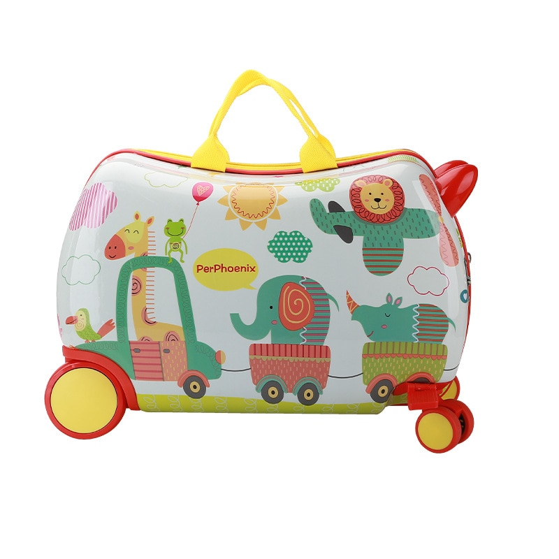 New Mini Kids Luggage Children's Suitcase for Ride on Cartoon Universal Wheel Boarding Riding Suitcase for Kids Gifts