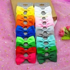 20PCS/SET With Card MIX Solid Boutique Grosgrain Ribbon Girl Bow Hair Clip Bow Hair Accessories Creativity Hairpin Headwear