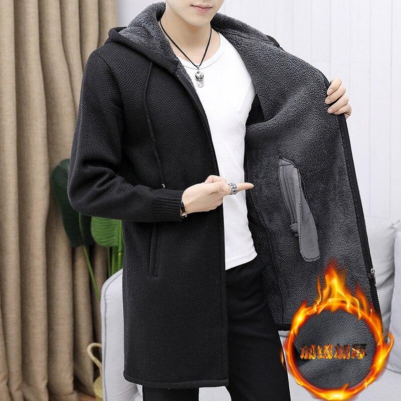 Casaco de lã masculino fino ajuste outono inverno quente grosso sólido com capuz zíper casacos longos de malha algodão casual fsashion suéteres