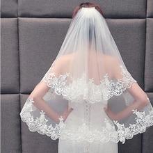 Velo de novia elegante de dos capas, con peine, blanco y marfil, 2021