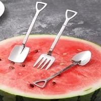 fruit fork set cute stainless steel cubiertos vajilla fork children home family fruit pick spade cake fork aparelho de jantar