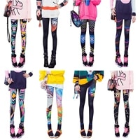 fashion graffiti printing leggings women personality cropped leggings tight elastic trousers yoga pants outer wear