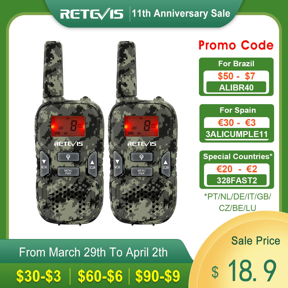 RETEVIS RT33 Mini Walkie Talkie 2pcs Kids Wireless Radio PMR PMR446 FRS VOX Flashlight USB Charge Christmas Gift Transceiver