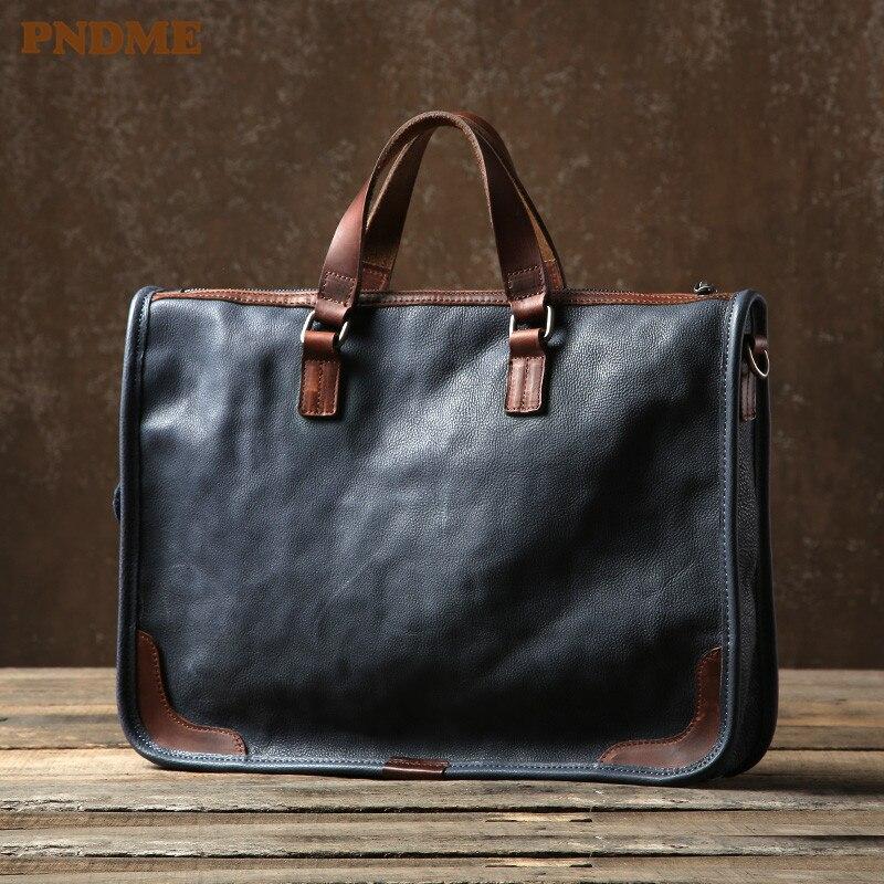 PNDME business retro luxury genuine leather men briefcase casual soft natural real cowhide handbag laptop shoulder messenger bag