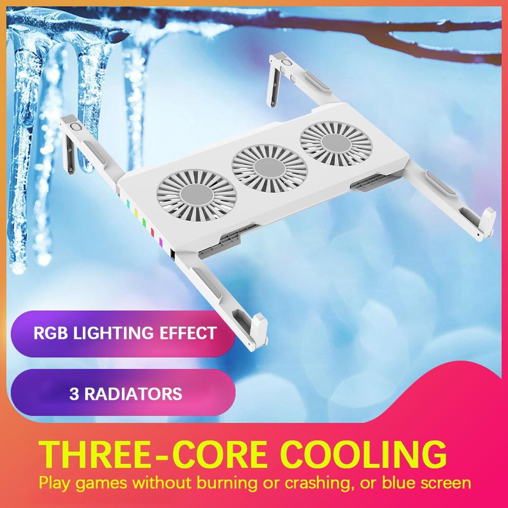 Портативный складной кронштейн для рассеивания тепла, блок питания USB C с 3 вентиляторами для охлаждения, подходит для ноутбуков до 18 дюймов
