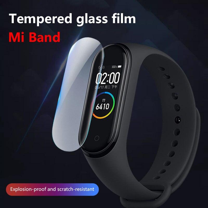 Para mi band 5 vidro temperado à prova de explosão protetor de tela à prova dclear água clara cobertura completa película protetora filme de vidro temperado