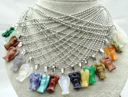 Piedra de cuarzo natural cristal Ojo de Tigre ópalo lapislázuli turquesas colgantes de ángel para hacer joyas diy collares accesorios A24