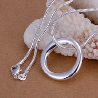 925 sterling silver smooth circle pendant necklace 18inch