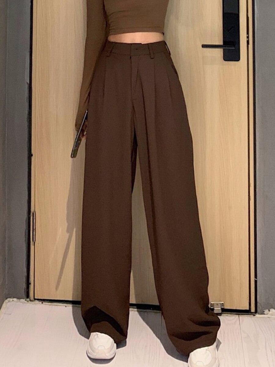 2020 retro cor sólida selvagem reta ampla perna calças femininas primavera nova moda coreana cintura alta casual calças compridas