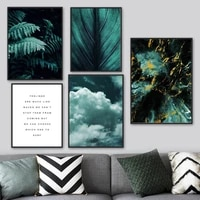 green fern leaf color block marbling sky wall art canvas painting nordic posters and prints wall pictures for living room decor