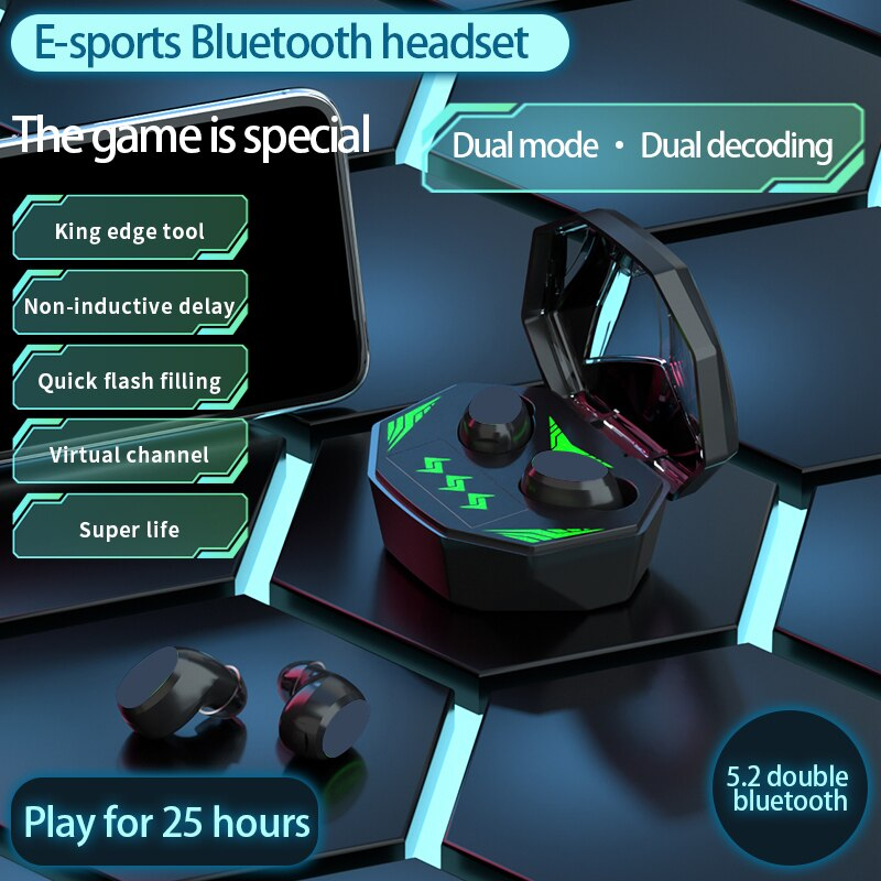 Tws gaming headset low delay wireless bluetooth 5.2 in-ear headphone with stero noise canceling gami