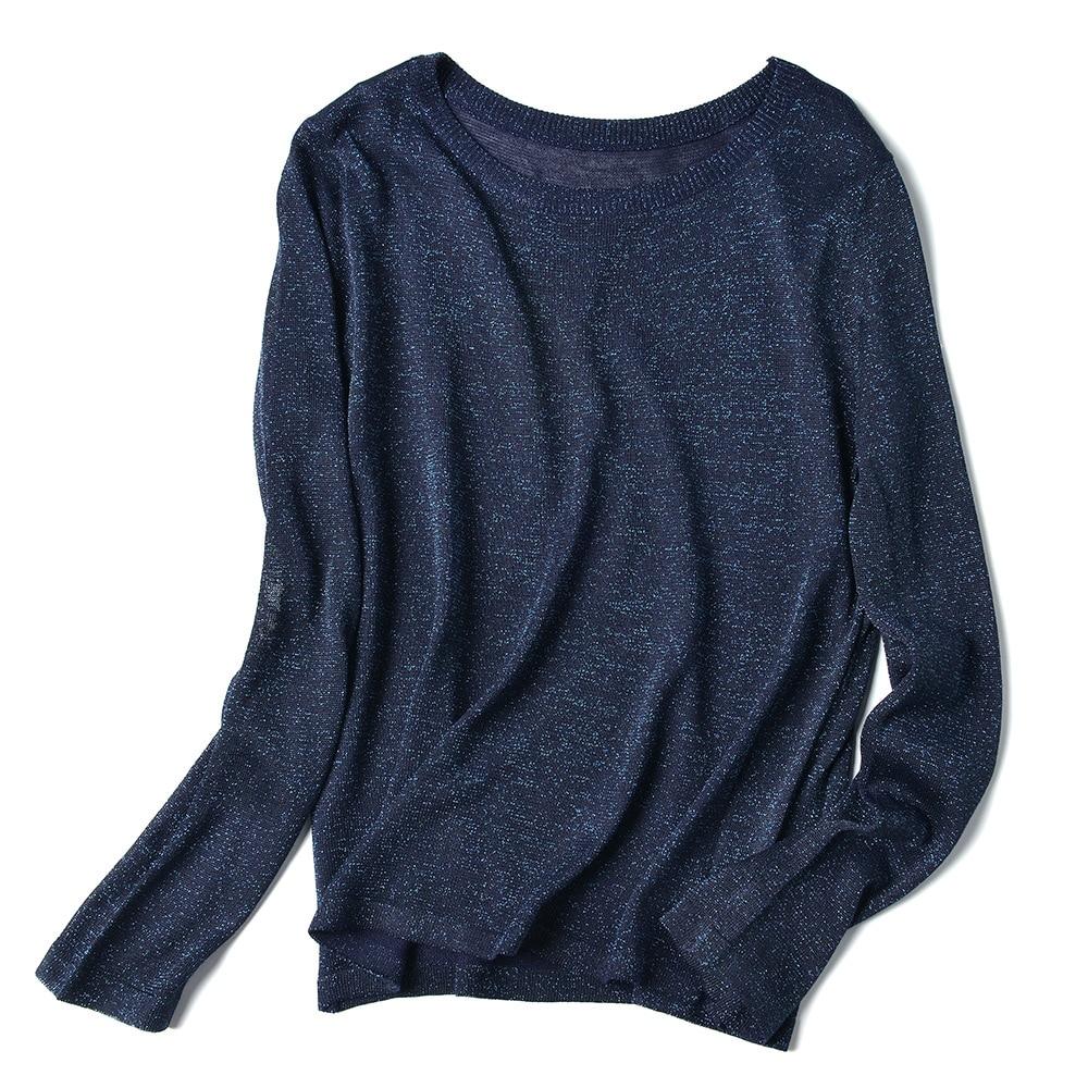 HLBCBG Knitted Summer T Shirt Women Casual Half Sleeves T-Shirt Breathable Elasticity Knitwear Top O-Neck Female Tshirt