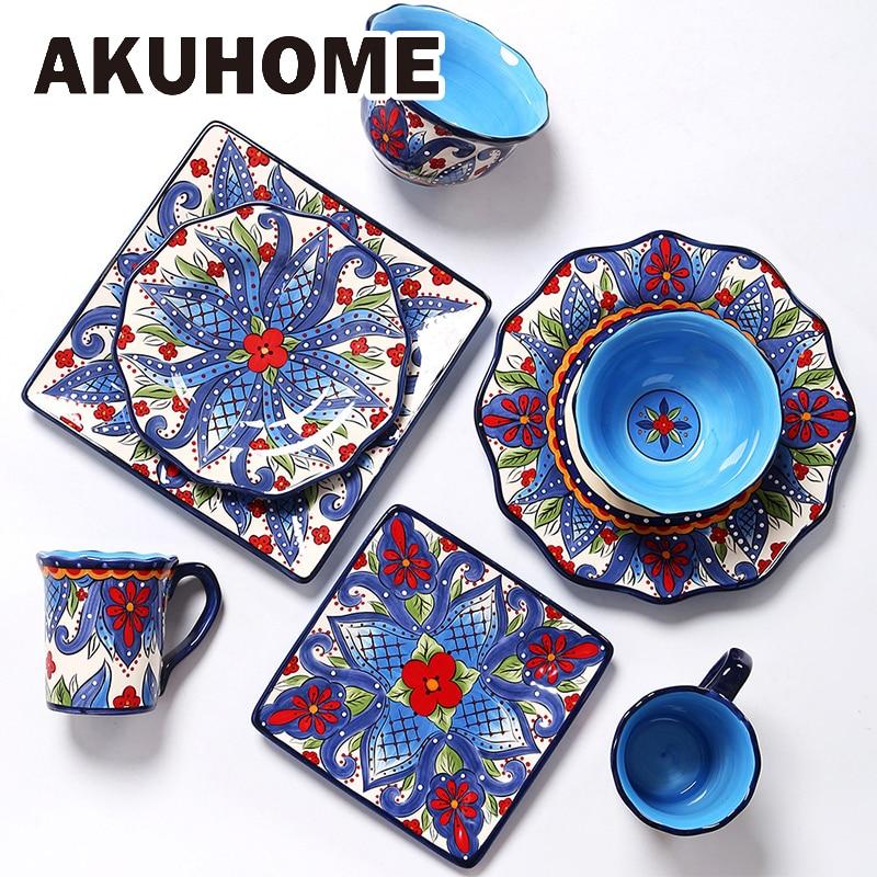 Creative Ceramic Dinnerware Set with Flower Print Plate Bowl Mug Big Size Tableware Dish Steak Plates Retro Design Gift Set