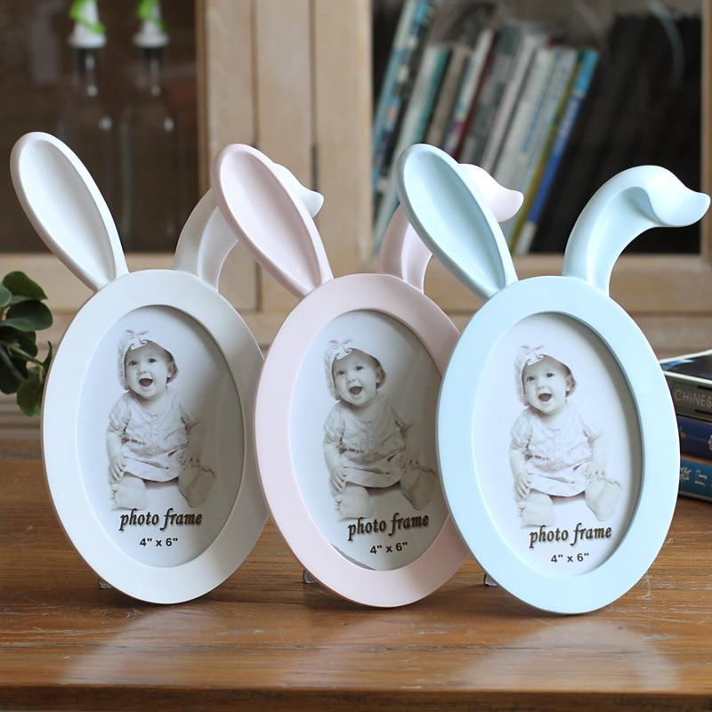 1PCS 6-polegada Bonito Dos Desenhos Animados Da Orelha de Coelho Orelha de Gato Chifre Moldura Criativa Mesa de Decoração Para Casa Imagem Do Bebê quadros