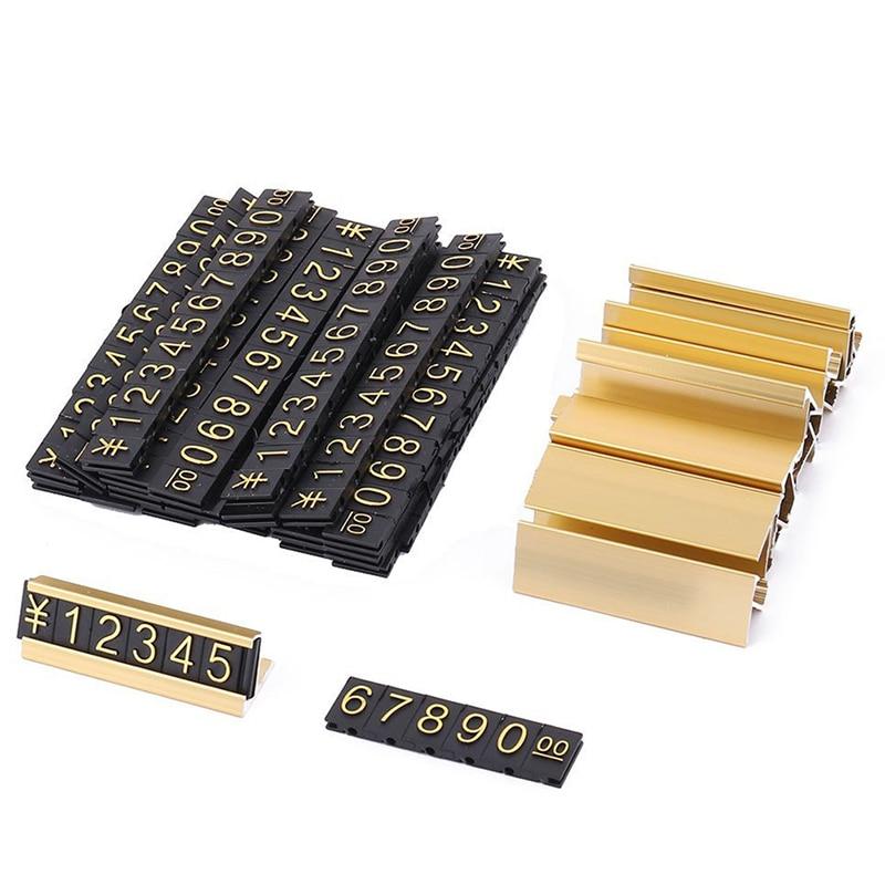 Fashion19 agrupa metal dorado, números árabes juntas etiquetas de precios