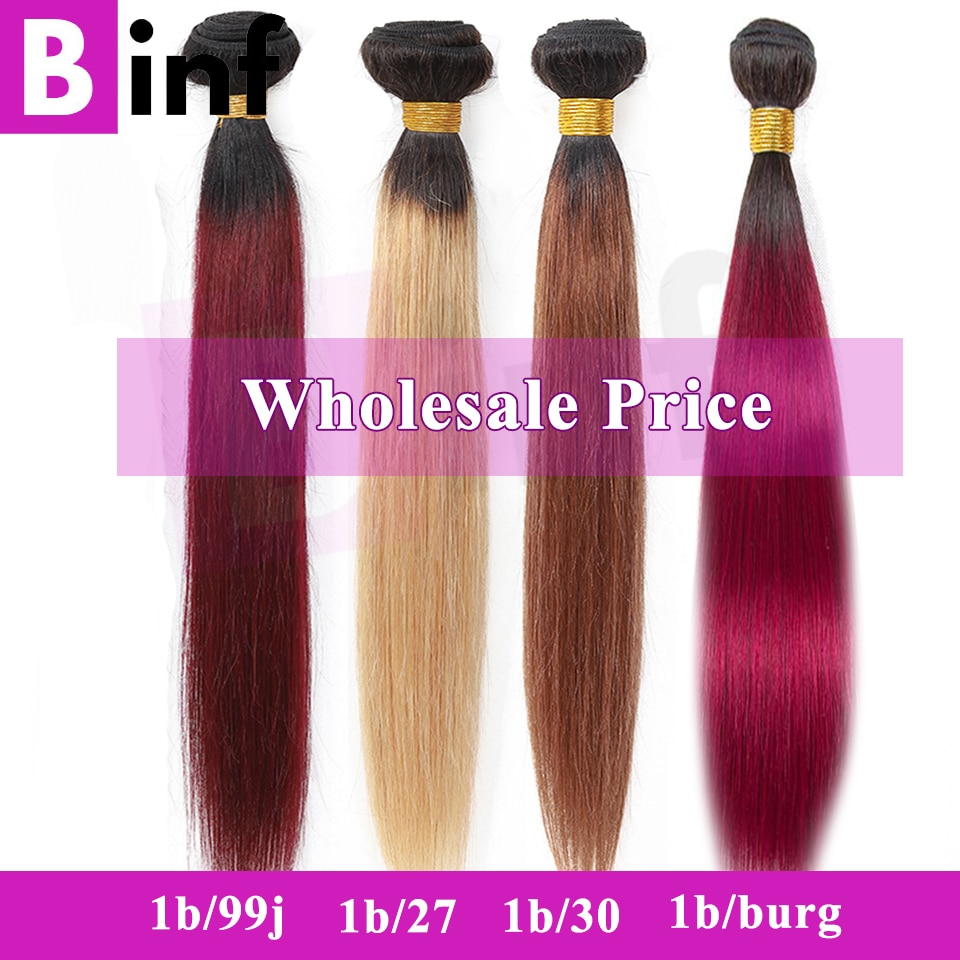 Pelo recto mechones Binf pelo peruano venta Ombre mechones 1B/27/30/#27/99J/Burg mechones de cabello humano postizo cabello Remy
