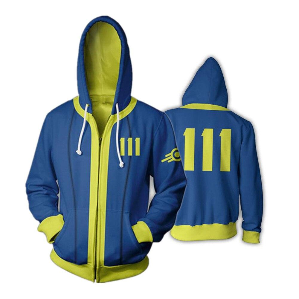 Juego de Nintendo Fallout 4 de la cremallera delgada sudaderas fresco Pullover abrigo chaqueta Unisex puente sudadera 3D con cremallera con capucha chaquetas chaleco