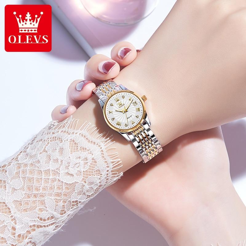 Watch Fully Automatic Mechanical Watch Fashion Diamond Double Calendar Waterproof Ladies Watch Women enlarge