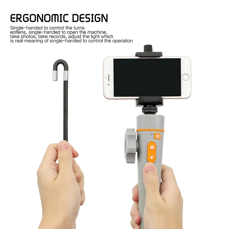 Articulating Endoscope for iPhone Automotive Inspection Camera with 2-Ways &180 Degrees Articulates Probe Flexible Borescope