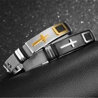 adjustable length stainless steel bracelet mens womens bracelets religious christian cross pattern bracelet accessories party