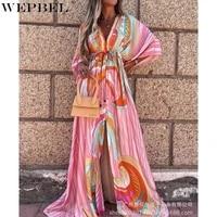 wepbel dress womens fashion print lace up slit dress autumn casual batwing sleeve v neck high waist loose dress