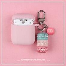 Coréen doux rose Macaron étui pour Apple Airpods 1 2 accessoires Bluetooth écouteur sac étui sans fil casque couverture avec porte-clés