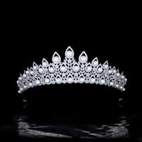 luxury pearl bridal crown micro inlaid zircon wedding tiaras headdress female hair accessories hq0309