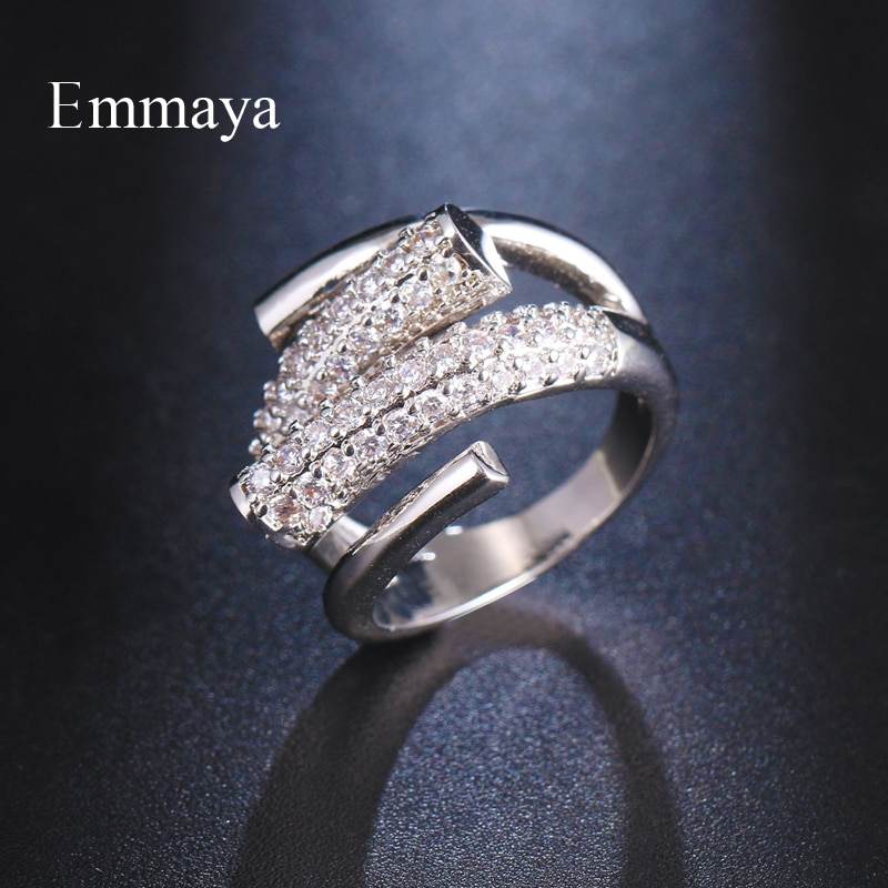 Emmaya Fashion Arrival Delicate Spiral Appearance Ring For Women&Girls Personality CZ Ornament Dinner Dress-Up Elegant Gift