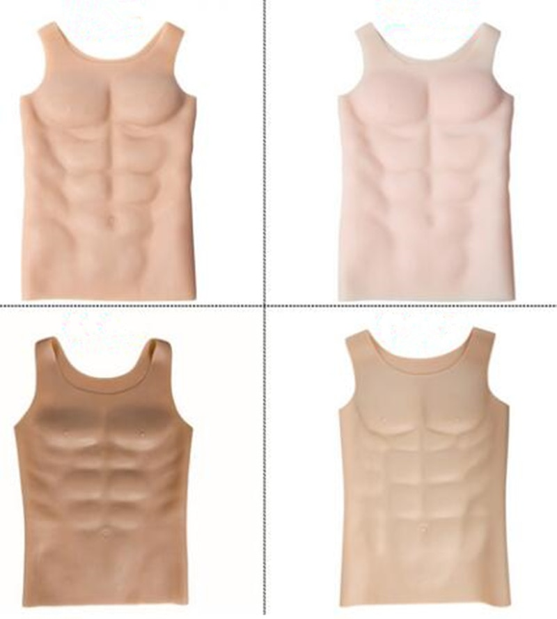 سيليكون رجل العضلات الملاكمة الاصطناعي البطن محاكاة العضلات الرجال ارتداءها فستان حفلة القماش الرجال مشد تأثيري فستان
