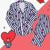 women heart stripe sleepwear casual fashion short sleeve shirt long pant shorts 2021 soft homewear harajuku women sleepwear
