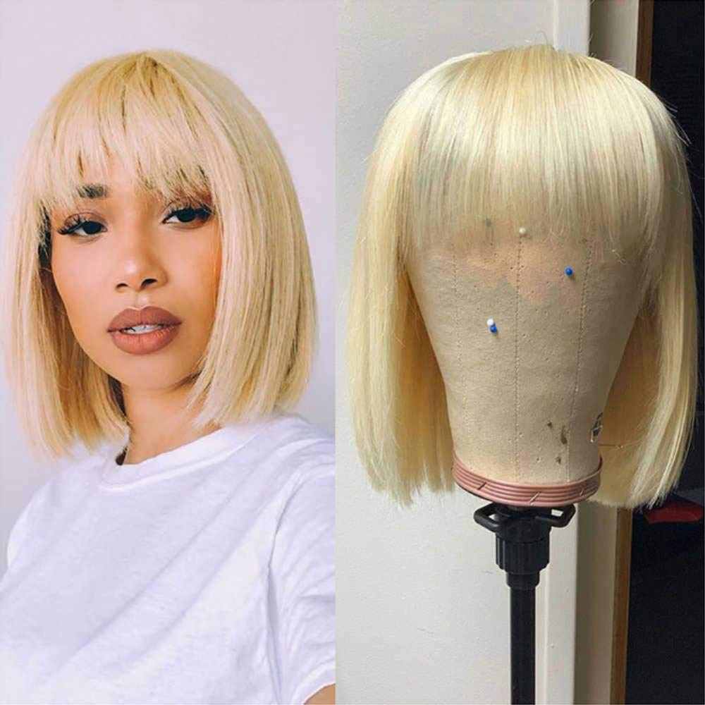 Bob Wig 613 Blonde Straight Short Human With Bangs Hair for Women Machine Made Wigs Pre Plucked