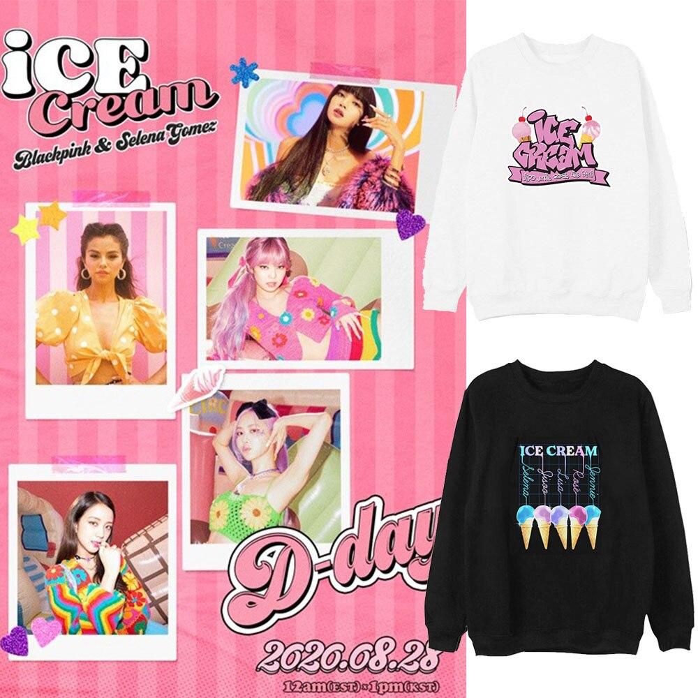 Jisoo jennie rosa lisa harajuku streetwear hoodie topos k-pop roupa nova coreano k pop kpop sorvete moletom com capuz