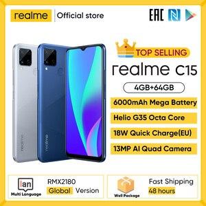 Realme 6i 6 я глобальная Версия Мобильный телефон 4 Гб Оперативная память 128 Гб Встроенная память штепсельная вилка европейского стандарта Заряд...
