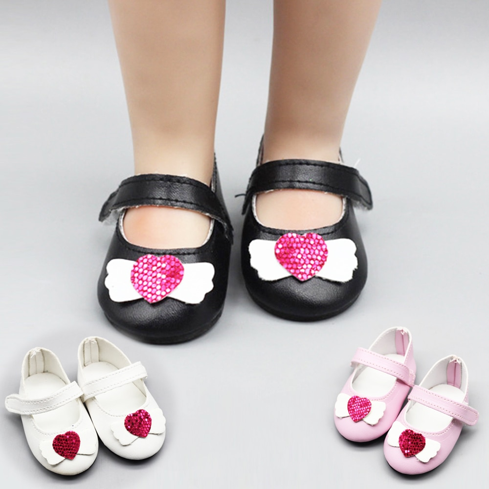 New Fashion Doll Shoes 7cm White Pink Black Shoes Lovely 43cm Height Dolls Baby New Born and 18 inches American Doll недорого