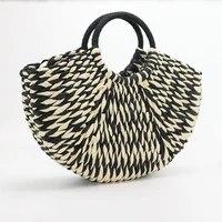 2021 new summer women messenger crossbody bags beach handbag handmade beach bag half round rattan woven straw bag woven bag