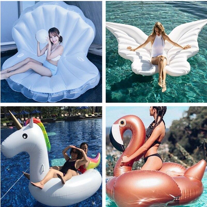 Cama para Adulto Colchão de ar Anel de Natação Inflável Gigante Flamingo Unicórnio Float Cadeira Tubo Círculo Piscina Festa Brinquedos Passeio-no Boia