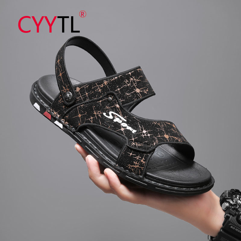 CYYTL Summer New Men's Sandals Casual Trend Home Slippers Open Toe Beach Walking Travel Shoes Two Wearing Breathable Slides