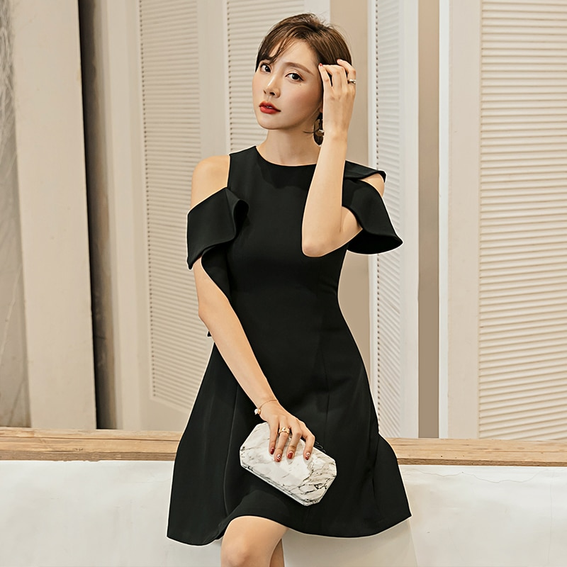 YIGELILA-فستان صيفي أسود بأكمام قصيرة وياقة دائرية ، فستان قصير بأكمام فراشة ، فوق الركبة ، 65226