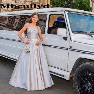 Mbcullyd Amazing Strapless Prom Dresses Long 2020 Imported Evening Dress For Women Luxury Satin abiti da cerimonia da sera