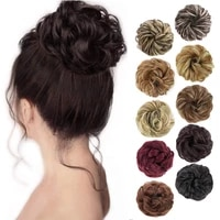 shangzi synthetic chignon with rubber band brown blonde women curly chignon hair clip in hairpiece bun drawstring for women