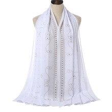 European and American Fashion Hijab Scarf Pearl Chain Chiffon Scarf Hot Rhinestone Full Headscarf Et