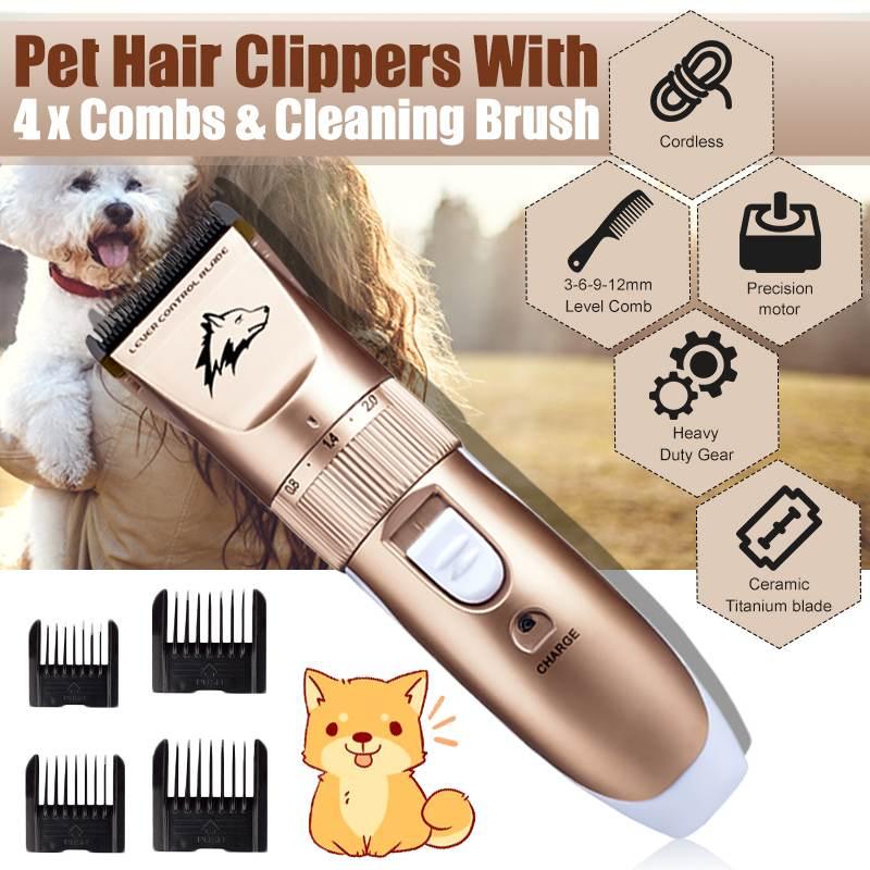 Электрический триммер для собак, перезаряжаемый от USB, устройство для стрижки волос с низким уровнем шума, машинка для стрижки домашних живо...