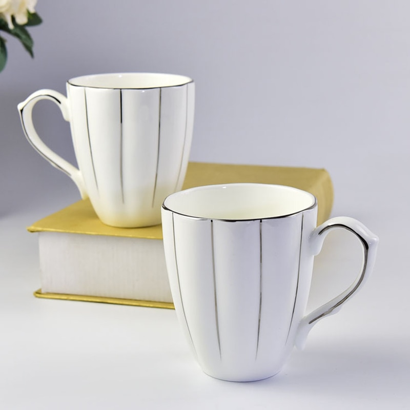 Tazas de calabaza de hueso blanco de China, taza exquisita, taza para beber, taza de café Latte de Cappuccino, tazas de cerámica de línea dorada