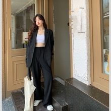 Suit Women's 2021 Spring New Loose Suit Coat Straight Casual Pants Lung Graceful and Fashionable Two