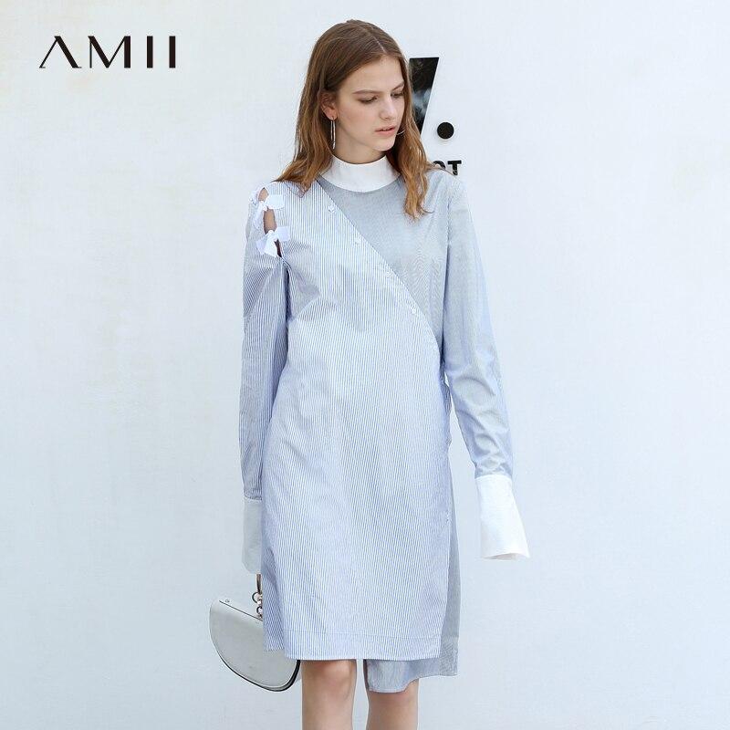 Amii Minimalist Stripe Patchwork Dress Autumn Women Loose Half-high Collar Female Mid Long Dresses 11830085