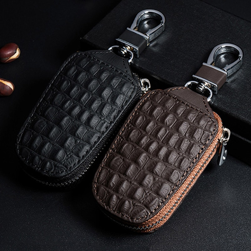 Auto Accessories crocodile pattern key case zipper men and women business first layer cowhide key bag buckle accessories