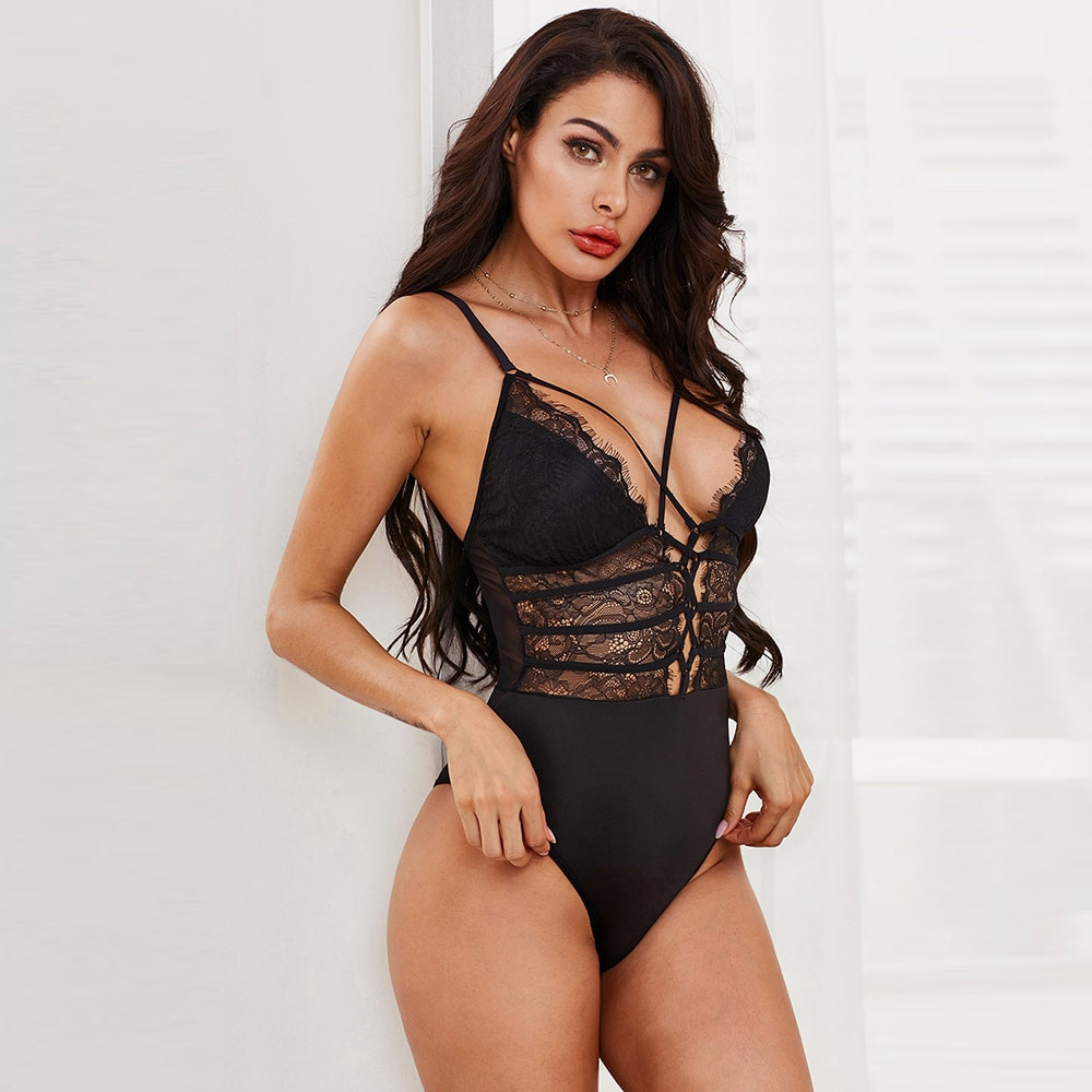 Deep V-Neck Plunge Strappy Sheer Sexy Lace Bodysuit Club Female Body See Through Backless Bodysuit Thong Teddy plunge choker neck pearl beading bell sleeve bodysuit