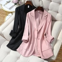 elegant women blazers summer and autumn mid length coat single button casual jacket 2021 fashion womens top clothing