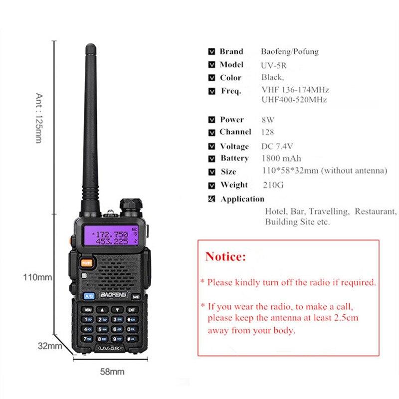 BaoFeng Walkie Talkie UV 5R Two-way dmr CB Ham Radio Station UV-5R Walkie-talkies 5W 8W VHF Receiver UV5R UV 82 UV9R For hunting enlarge