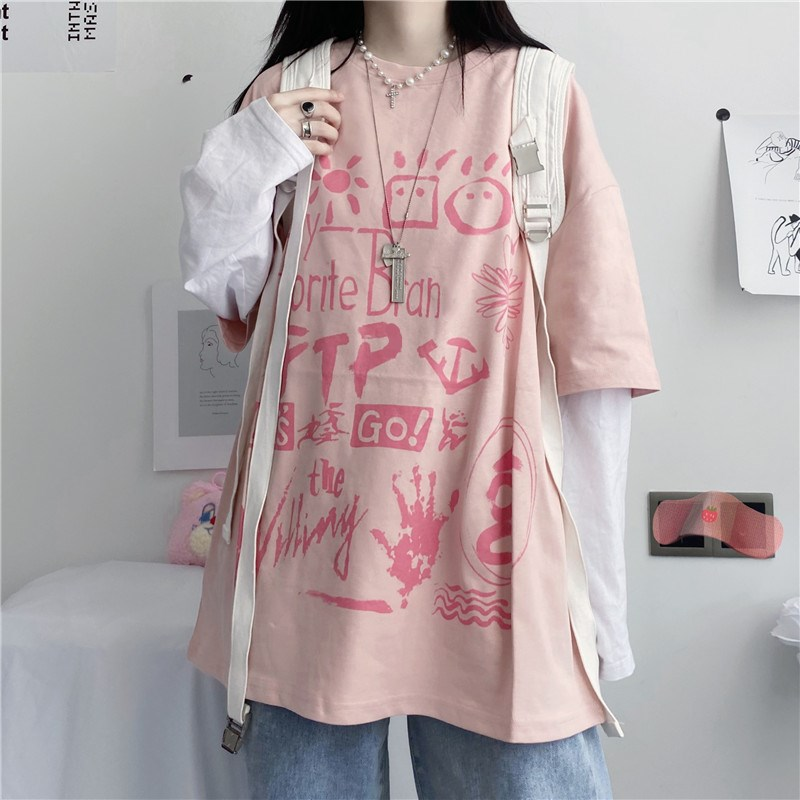 Early Autumn Korean Version Ins Japanese Alphabet Graffiti Printing Stitching Fake Two Loose Long-Sleeve T-Shirts For Female New